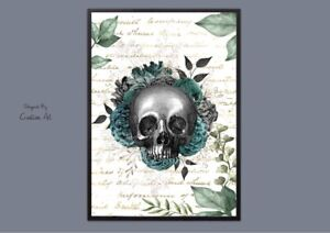 ART Print  -Skull and Roses Floral Grunge Steam Punk A4 Gothic Picture Decor