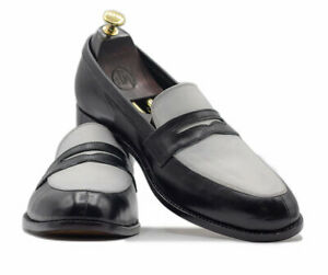 New Mens Handmade Black White Round Toe Penny Loafers, Men Fashion Party Loafers