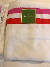 Kate Spade NY Towel set  2 bath towels, Candy Stripe Grosgrain pink ,100% cotton