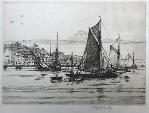 "Robert Henry Smith ""Craft at their Moorings at Brixham"" Original Signed Etching"