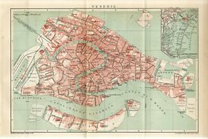 1895 ITALY VENICE CITY PLAN Antique FOLIO Map