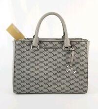 $348 Micheal Kors Kellen Medium Crossgrain Leather Satchel Bag Black/Pearl Grey