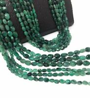 Natural Emerald Gemstone Beads, Smooth Emerald Oval Beads for Jewelry Making, Ma