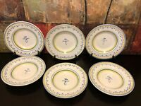 """6 NEW WILLIAMS SONOMA WSO4 Blue Rim Soup Pasta Bowl Plates Hand Painted Italy 9"""""""