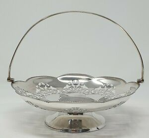 Vintage / Antique Silver Plated Cake or Roll Basket - Pierced Edge Design