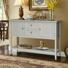 Costway Sideboard Buffet Table Wooden Console Table w/ Drawers & Cabinets Gray