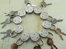 Vintage Antique Small Padlock Key Lock Round Shaped Nickel (Lot of 10)