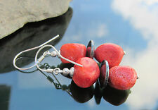 Stunning Red Natural Coral and Hematite Beads Disc 925 Sterling Silver Earrings