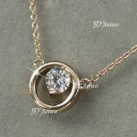 18K ROSE GOLD GF MADE WITH SWAROVSKI CRYSTAL ROUND PENDANT NECKLACE SMALL
