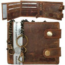 Herren Leder Geldbörse Geldbeutel Portemonnaie Brieftasche RFID mit Kette NEU
