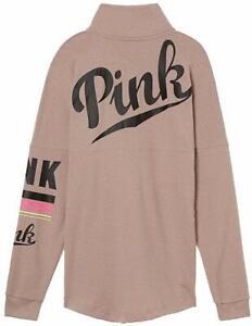 Victorias Secret Pink Varsity Quarter Snap Pullover Sweatshirt Lavender Rain NWT