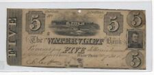 USA NEW YORK WATERVLIET BANK 1839 5 DOLLARS VG VERY RARE!!!