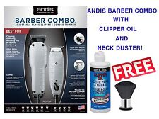 ANDIS BARBER COMBO PROFESSIONAL CLIPPER&T-OUTLINER TRIMMER+FREE OIL&NECK DUSTER