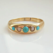 Charming Antique Victorian 18ct Gold Turquoise & Pearl set Five Stone Ring c1900