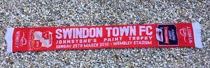 SWINDON TOWN FC Soccer Football Scarf JOHNSTONE'S PAINT TROPHY Wembley Stadium