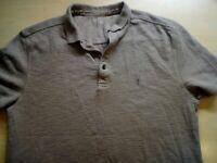 Mens AllSaints Beige Short Sleeve Polo Shirt Size M