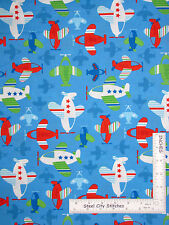 Airplane Air Plane Fly Flying Jet Blue Cotton Fabric Santee Novelty - Yard