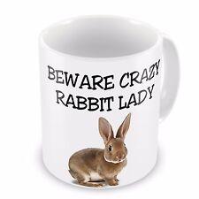Beware Crazy Rabbit Lady Novelty Gift Mug