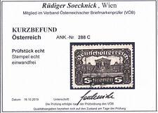 Österreich ANK Nr. 288 C (Parlament 5 K) gestempelt, Befund Soecknick !!!