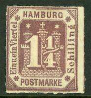 Germany 1864 Hamburg 1¼ Shilling Brown SG #44 Mint I326 ⭐⭐⭐⭐⭐⭐