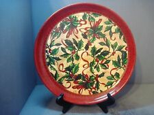 PLASTIC CHRISTMAS TRAY DECORATED WITH RIBBON AND HOLLY GRAPHICS