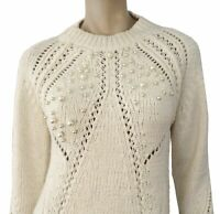 3.1 PHILLIP LIM Pearl Embellished Chunky Knit Crew Neck Sweater Pullover XS NEW