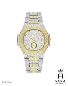 Iced Bling Simulated Diamonds Watch Hip Hop Stainless Steel Rhinestone Quartz