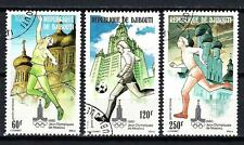 JO été Djibouti (31) série complète de 3 timbres oblitérés