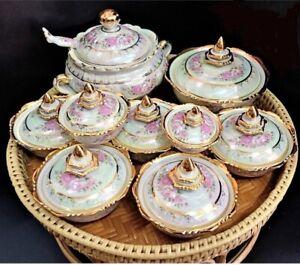 Benjarong Bowl/Pot Thai Ceramic Pottery Paint Craft Porcelain Hand Made