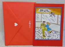 Valentine's Day Card Leanin' Tree Cartoon, Ski, Cupid, With Envelope