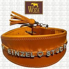 WOZA Premium Greyhound Collar Full Leather Padded Soft Cow Napa Handmade HDF6630