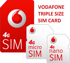 New Vodafone UK Pay As You Go SIMCARD  NANO MICRO STANDARD Triple Size Voda SIM