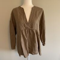 Zara Oversized Long Sleeve Lagenlook Linen V Neck Tunic Top Brown Sz M