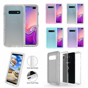 For Samsung Galaxy S10 Transparent Clear Defender Dual Layers Case Cover