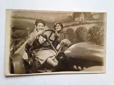 HAPPY LADIES IN  SPORTS CAR Amusement Park Real Photo Postcard RPPC