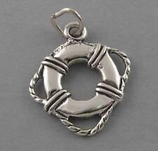 LIFE PRESERVER New Sterling Silver Charm Pendant Nautical Ocean Beach 2385