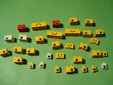 LEGO XL Set Pietre viso occhi bocca GIALLO BIANCO NERO 2x2 2x4 4x2 1x1 (a10027)