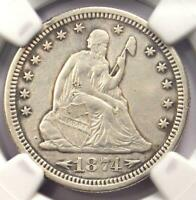 1874-S Arrows Seated Liberty Quarter 25C - NGC XF Details - Rare Type Coin!