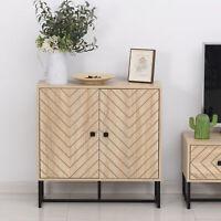 HOMCOM Embossed Arrow Storage Cabinet w/ Adjustable Shelf Metal Frame Handles