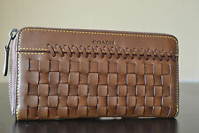COACH 1941 RIP AND REPAIR ACCORDION MEN WALLET GLOVETANNED LEATHER SADDLE #75442