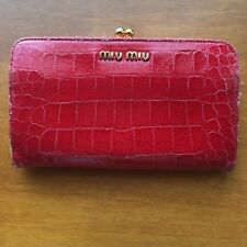 Authentic Miu Miu by Prada Croc Crocodile Effect Glossed Leather Wallet in Red