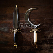 CRESCENT MOON DAGGER RITUAL ATHAME BOLINE CURVED KNIFE HANDMADE BONE HORN HANDLE