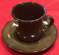 Vintage Franciscan MADEIRA Coffee Cup & Saucer Brown Green Set of 2 USA EUC