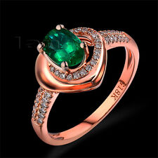 Solid 18kt Rose Gold Engagement Wedding Diamond Oval 4x6mm Emerald Gem Ring