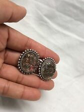Stunning Stephen Dweck Carve Oval Stone Sterling Clip On Earrings