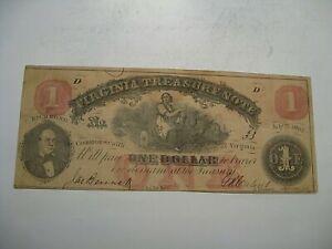 1862 Virginia Treasury Confederate States of America CSA $1 Note.  #23