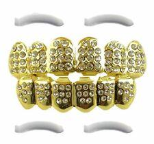 Joyas de Primera comentarios 24k chapado en Oro Grillz con Micropave colmillos Diamant