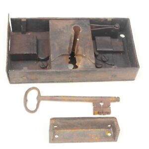 Large 18th Century Hand forged Door Lock and Key with Catch - Working Condition