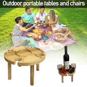 Wooden  Outdoor Folding Picnic-Table With Glass Holder 2 In 1 Wine Glass Rack