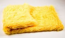 "faux fur Shaggy Yellow Throw Blanket / Bed Spread Coverlet / Soft 108"" x 60"""